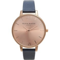 TOPSHOP **Olivia Burton Big Rose Gold Dial Watch ($120) ❤ liked on Polyvore featuring jewelry, watches, accessories, bracelets, navy blue, navy watches, navy blue watches, buckle watches, navy blue bracelet and water resistant watches