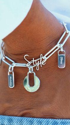 Jewelry Trends, Jewelry Accessories, Fashion Accessories, Unique Bracelets, Link Bracelets, Cute Jewelry, Silver Jewelry, Bracelet Couple, Custom Charms