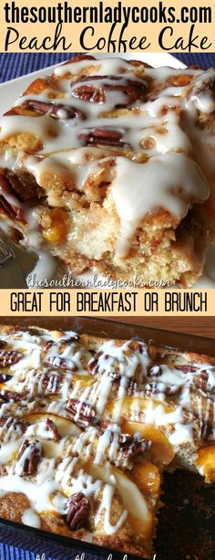 Peach coffee cake is so good for breakfast or brunch with your morning coffee. This makes a great dessert, too. #peaches #peach #coffee #cake #dessert #brunch #breakfast #brunch