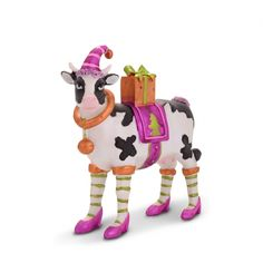 Bright Coloured Christmas Cow Ornament Complete With High Heels & Hat £14.99