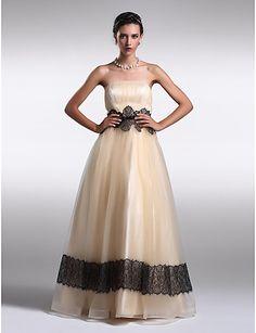 Formal Evening Dress - Pearl Pink A-line/Princess Strapless Floor-length Organza – GBP £ 80.29