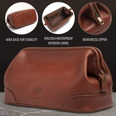 Men s Toiletry Wash Bag   Brown Leather    Travel Dopp Kit Bags for Shaving  Toiletries Personal Grooming Supplies Traveling and Bathroom Cosmetic Cases  for ... 7ee1785ffd0ad