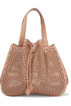53704f4978 ALAÏA Petal laser-cut textured-leather bucket bag Alaia