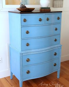 Giverny Chalk Paint Chest Makeover with White Wax - Artsy Chicks Rule®