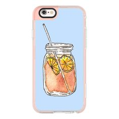 iPhone 6 Plus/6/5/5s/5c Case - Summer Sun Iced Tea with Lemons Hand... ($40) ❤ liked on Polyvore featuring accessories, tech accessories, iphone case, apple iphone cases, iphone hard case, blue iphone case, iphone cover case and iphone cases