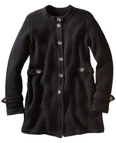 Autumn Sweater Coat from #HannaAndersson. - Yipee!!... Found their normal Pin Button!! - FIND OUT.... Is there a fabric like this or similar to this (thicker but, not fleece) that doesn't have to be knitted to be created?   - And, If so... Can the pieces be sewn-together on a machine
