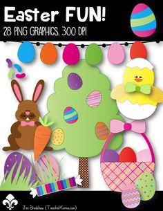 Easter FUN Clip Art set!  You are going to LOVE these Spring graphics!  They are just perfect for adding to classroom newsletters, activities or centers, parent notes and letters, classroom decor and MORE!  TeacherKarma.com