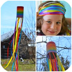 """I'm having a bit of a Rainbow LOVE affair!! To celebrate a fine Spring day we decided to make some Rainbow """"windsocks"""" for our tree! ..."""