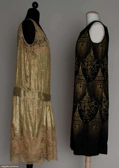 TWO LAME PARTY DRESSES, MID 1920s 1 gold lame, trimmed w/ ecru lace, lame hip belt, 1 black silk embroidered in repeating deco pattern w/ geometric & floral designs. Sideway