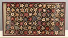 """Early framed Canadian """"Penny"""" rug. Rug 49"""" x 27"""", 29"""" x 53"""" overall."""