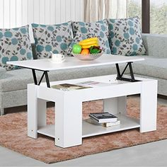 Topeakmart Lift up Top Coffee Table with Under Storage shelving - small spaces, small home solutions - apartment living