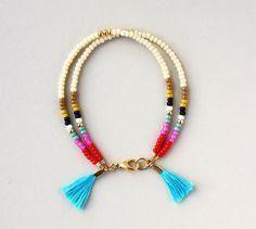 Friendship Bracelet - Beaded Bracelet - Layering Bracelet - Tassel Bracelet This listing is for ONE double strand bracelet with two turquoise Tribal Bracelets, Tassel Bracelet, Layered Bracelets, Jewelry Bracelets, Jewelery, Strand Bracelet, Bracelet Wrap, Colorful Bracelets, Seed Bead Jewelry