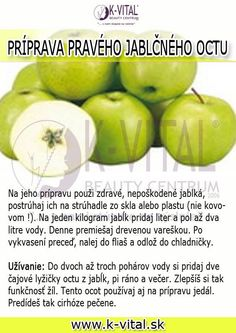 ako si pripraviť domáci jablčný ocot Apple Cider Vinegar, Castor Oil, Life Is Good, Detox, Food And Drink, Fruit, Health, Fitness, Medicine