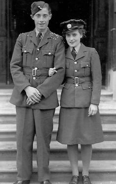 It wasn't only grooms who were in uniform! Ernie and Joan Howe of Cambridgeshire, England were both in the armed forces when they married on October 3, 1942. She was a member of the ATS (Auxiliary Territorial Service) This photo was published on their 70th wedding anniversary, in their local newspaper called The Cambs Times ~