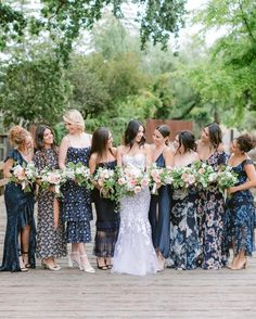 """Carats & Cake on Instagram: """"Bridesmaid gowns in every shade! 🌈 Cheerful, sophisticated—with memorable hues and patterns—your bridal party can wear every color of the…"""" Bridesmaid Dresses, Wedding Dresses, Wedding Attire, Cheer, How To Memorize Things, Shades, Bridal, Party, How To Wear"""