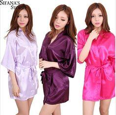 Sexy Silk Satin Night Kimono Robe Short Bathrobe Perfect Wedding ece3330cc