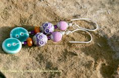 Silver wire ,Turquoise color, purple beads, ceramics button .Earrings , 4 inches (9cm ) long - pinned by pin4etsy.com