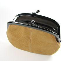 Camel Suede Leather Sectional Purse