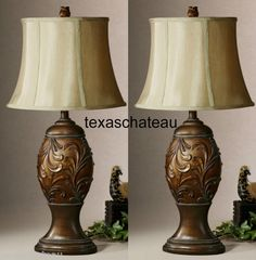 Set 2 Old World Tuscan Style Decor Bronze Scroll Desk Accent Table Lamps New | eBay