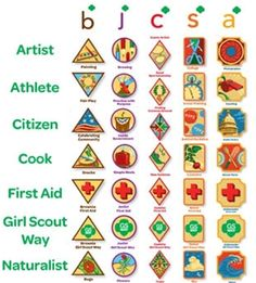 National Proficiency Badges - 7 Legacy Badges...  Artist,Athlete,Citizen,Cook,First Aid, Girl Scout Way, Naturalist.  Also Skill Bilding Badge, etc.....