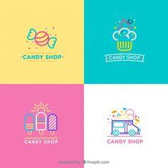Candy shop logos collection for companies Logo Bonbons, Logo Doux, Logo Cupcake, Logo Dulce, Logo Boulangerie, Logo Boutique, Sweet Logo, Candy Logo, Gift Logo