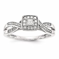 14k White Gold Princessa Diamond Engagement Ring
