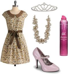 Outfit inspired by Amber from Hairspray: Vintage dress, mary-janes, necklace, tiara