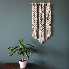 JANUARY SALE > Macrame Wall Hanging > Little Diamond Trio > 100% Cotton Cord in Natural Ecru with Bamboo