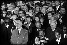 JFK funeral. President de Gaulle and Emperor Haile Selassie I side by side. USA. Arlington, Virginia. 1963.