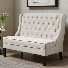 Add stylish seating to your entryway or living room with this Pulaski upholstered banquette bench. Settee Dining, Upholstered Dining Bench, Banquette Bench, Tufted Sofa, Corner Dining Bench, Kitchen Benches, Entryway Bench, Dining Bench With Back, Entryway Furniture