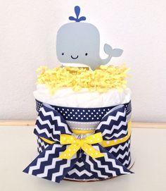 Mini Chevron Navy, Yellow and Gray Whale Diaper Cake Baby Shower Centerpiece Baby Shower Diapers, Baby Shower Cakes, Baby Shower Themes, Baby Boy Shower, Baby Shower Gifts, Baby Gifts, Shower Ideas, Baby Boy Centerpieces, Diaper Centerpiece