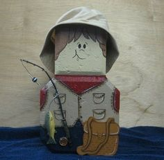 Gone fishing fisherman painted patio paver brick doorstop