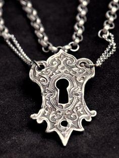 Large Solid Sterling Keyhole Pendant Elemental Adornments Christi Anderson. via Etsy.