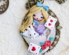 polymer clay necklace / alice / disney / princess / clay