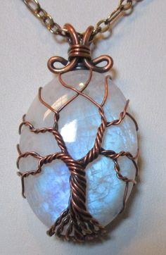Rainbow Moonstone Tree of Life Wire Wrapped by Mariesinspiredwire