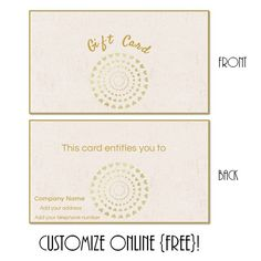 Free printable gift certificate templates that can be customized ...