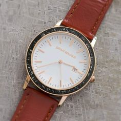 Black Stardust Meteorite Watch, Rose Gold Colored Metal And Mocha Brown Leather Strap-JE1004-1