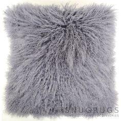 Mongolian Sheepskin Cushion 40cm x 40cm - Grey