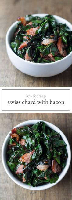 Low FODMAP Swiss Chard and Bacon I LOVE eating swiss chard for breakfast. And, this Low Fodmap Swiss Chard and Bacon recipe is delicious topped with eggs for breakfast (or brunch) or served as a side for supper. Such an easy low fodmap recipe! Veggie Side Dishes, Healthy Side Dishes, Healthy Meals For Kids, Vegetable Dishes, Food Dishes, Easy Meals, Healthy Breakfasts, Bacon Recipes, Vegetable Recipes