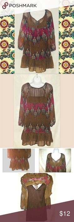 """Boho Gypsy Dress~Brown w/ Paisley Print Medium ~ Adorable Dress by Xhiliration Size Medium   Brown & multi color with allover varied  Paisley & other prints  Top layer is sheer with a built in Brown slip underneath  Long sleeve w/ elastic at wrists   Measures approximately 33"""" long & 36"""" bust & waist  Versatile piece could be worn on its own, with leggings & more ~ Cute for any season!  ~ Very good condition ~ No holes/snags, wash wear/pilling or other defects. The inside slip is attatched…"""