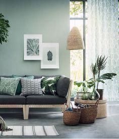 2-pack mönstrade gardinlängder | Grön/Blad | Home | H&M SE