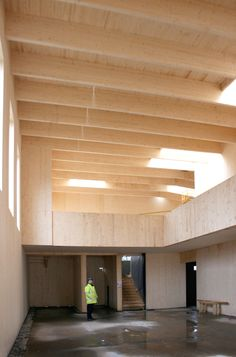 construction of CLT frame at Ralph Allen School, Bath by Feilden Fowles Architects. Photograph by Keir Alexander