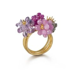 """Laura Porché on Instagram: """"@donnabrennan_123 18ct gold, rough diamond, ruby, pink sapphire, amethyst ring. #Hortusconclusus collection. The name of this stunning…"""""""