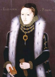 """The """"Clopton Portrait"""", Elizabeth I 1560, a portrait of the young queen before she became the subject of sophisticated royal iconography. Private Collection."""