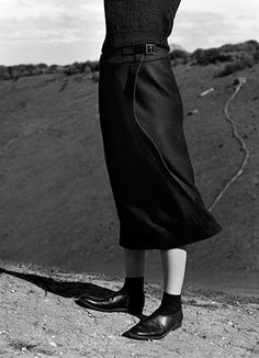 MARGARET HOWELL AUTUMN WINTER 2015 CAMPAIGN  Photographed on the South Downs and Devil's Dyke, East Sussex.  Photographed by Alasdair McLellan - shoes + socks combo perfect.
