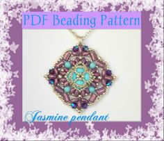 Jasmine pendant. The beading pattern is available here:  https://www.etsy.com/it/listing/172851115/schema-perline-ciondolo-jasmine-con?ref=shop_home_active