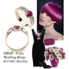SHOP - Celtic Wedding Rings & Celtic Jewelry by ladymargaret on Polyvore featuring moda, STELLA McCARTNEY, Giuseppe Zanotti and Emilio Pucci