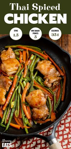 Thai Spiced Chicken - a delicious one pan sweet and spicy chicken dish that the whole family will love. Gluten free, Dairy Free, Slimming World and Weight Watchers friendly recipes Slimming World Chicken Recipes, Best Chicken Recipes, Turkey Recipes, Gluten Free Recipes For Dinner, Paleo Dinner, Easy Dinner Recipes, Indian Food Recipes, Asian Recipes, Healthy Recipes
