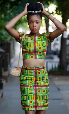 Tamara Pooka Spencer - she was born in Jamaica and lives now in NYC. She sketched the outfit herself and then got it made!Tamara wore this outfit for a fashion shoot in the East Village (NYC). African Attire, African Wear, African Dress, African Style, African Girl, African Clothes, African Inspired Fashion, African Fashion, Nigerian Fashion