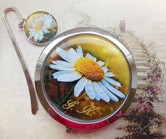Handmade pocket mirror and bookmark - Handmade zrcátko a záložka #handmade #accessories #modrykonik